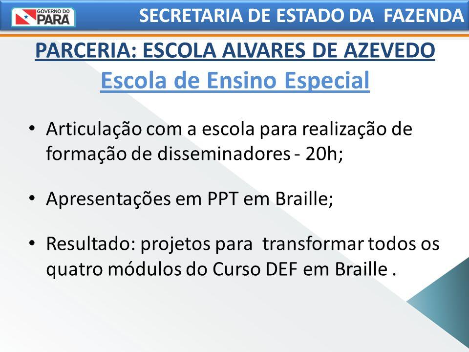 SECRETARIA DE ESTADO DA FAZENDA Articulação com a escola para realização de formação de disseminadores - 20h; Apresentações em PPT em Braille; Resulta