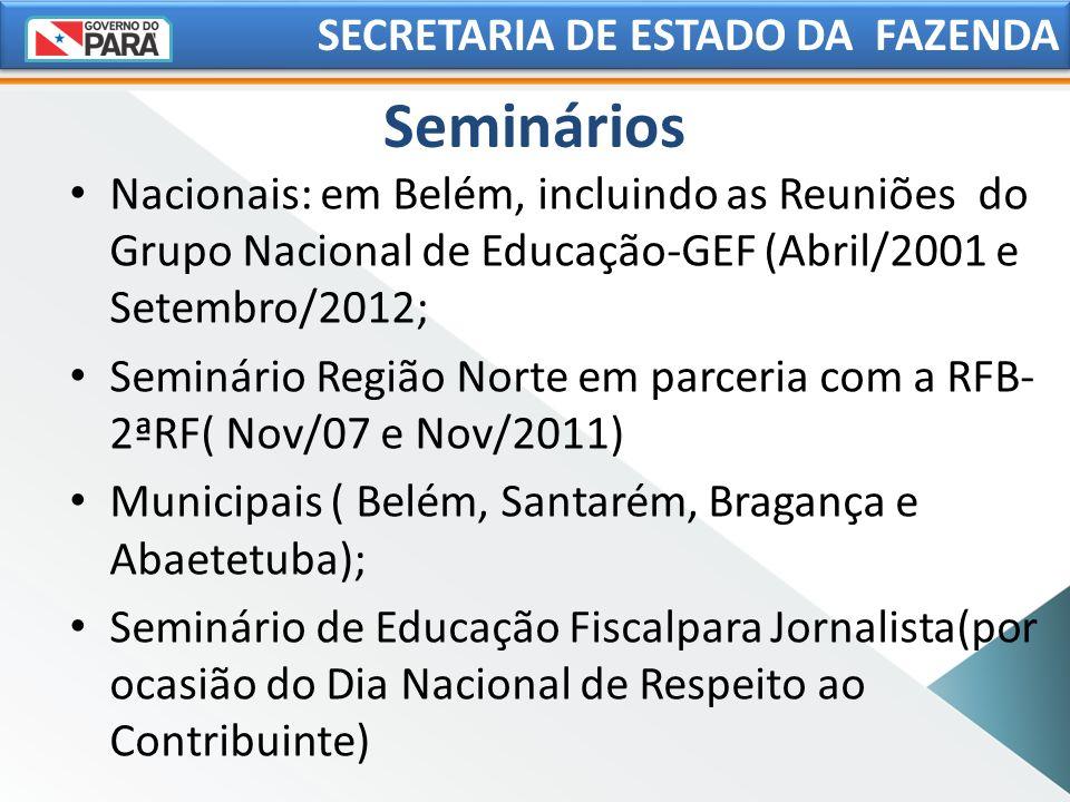 Seminários Nacionais: em Belém, incluindo as Reuniões do Grupo Nacional de Educação-GEF (Abril/2001 e Setembro/2012; Seminário Região Norte em parceri