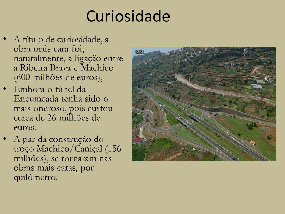 Curiosidade A título de curiosidade, a obra mais cara foi, naturalmente, a ligação entre a Ribeira Brava e Machico (600 milhões de euros), Embora o tú