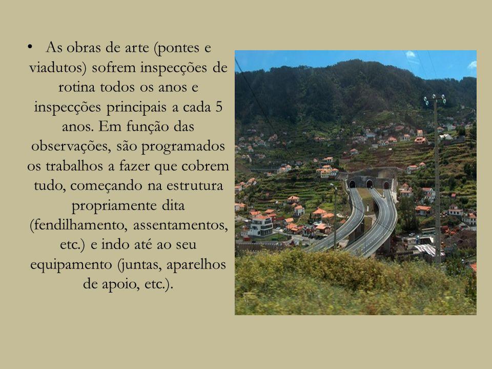As obras de arte (pontes e viadutos) sofrem inspecções de rotina todos os anos e inspecções principais a cada 5 anos. Em função das observações, são p