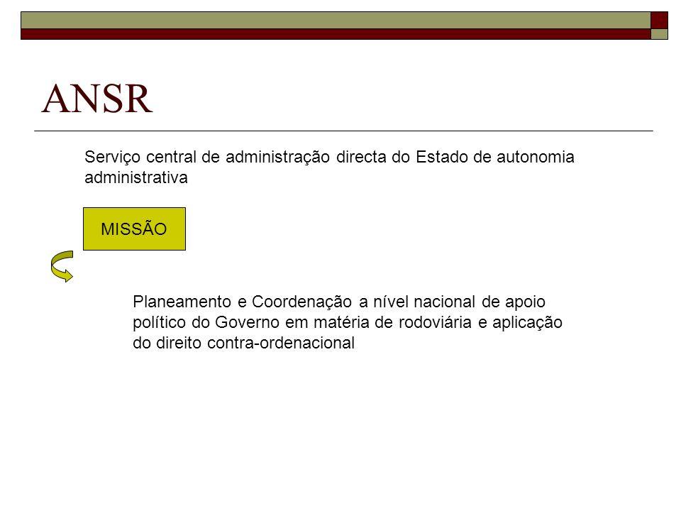 ANSR MISSÃO Serviço central de administração directa do Estado de autonomia administrativa Planeamento e Coordenação a nível nacional de apoio polític