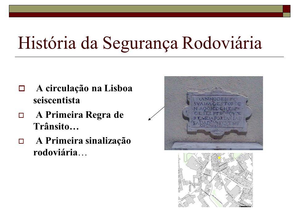 História da Segurança Rodoviária A circulação na Lisboa seiscentista A Primeira Regra de Trânsito… A Primeira sinalização rodoviária…