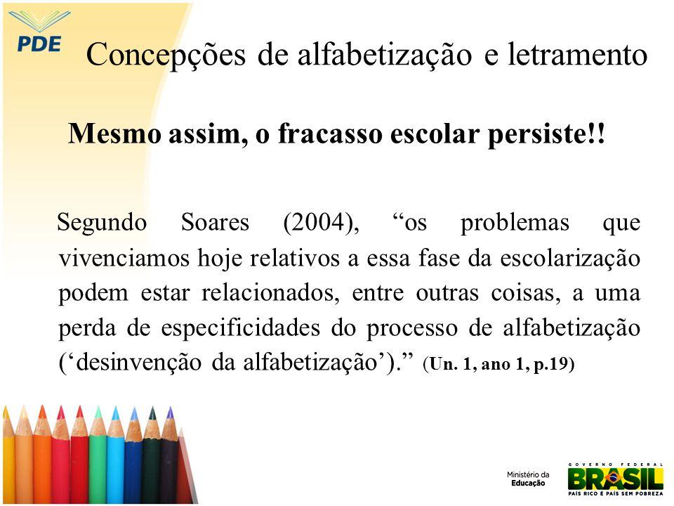 Concepções de alfabetização e letramento Mesmo assim, o fracasso escolar persiste!! Segundo Soares (2004), os problemas que vivenciamos hoje relativos