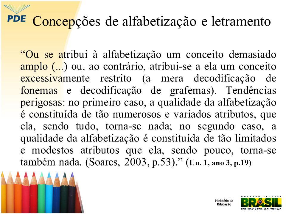 Concepções de alfabetização e letramento Ou se atribui à alfabetização um conceito demasiado amplo (...) ou, ao contrário, atribui-se a ela um conceit