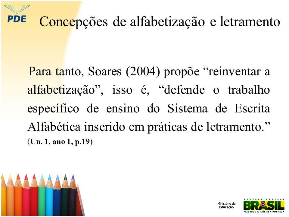 Concepções de alfabetização e letramento Para tanto, Soares (2004) propõe reinventar a alfabetização, isso é, defende o trabalho específico de ensino