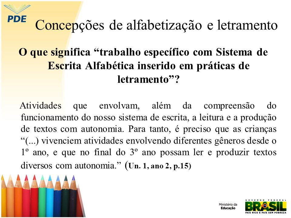 Concepções de alfabetização e letramento O que significa trabalho específico com Sistema de Escrita Alfabética inserido em práticas de letramento? Ati