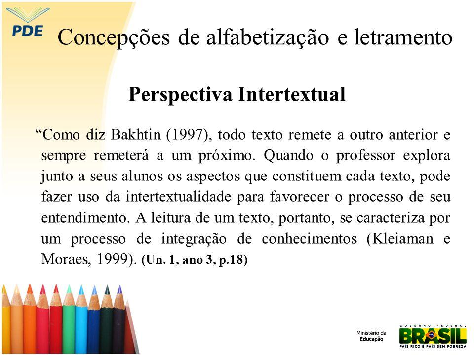 Concepções de alfabetização e letramento Perspectiva Intertextual Como diz Bakhtin (1997), todo texto remete a outro anterior e sempre remeterá a um p