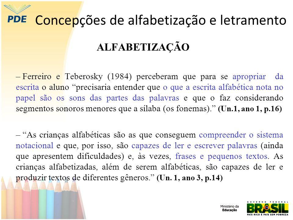 Concepções de alfabetização e letramento ALFABETIZAÇÃO – Ferreiro e Teberosky (1984) perceberam que para se apropriar da escrita o aluno precisaria en
