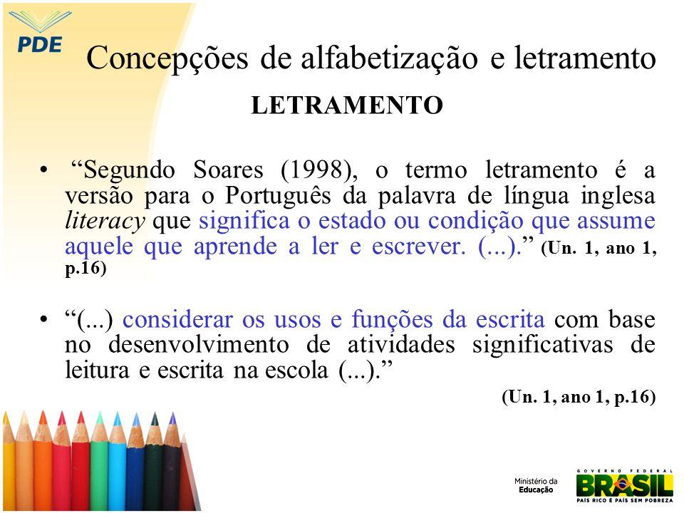 Concepções de alfabetização e letramento ALFABETIZAR LETRANDO Segundo Soares (2004), ocorreu uma perda de especificidade (desinvenção da alfabetização) no processo de alfabetização após a difusão na década de 80 dos estudos sobre a psicogêneses da escrita.