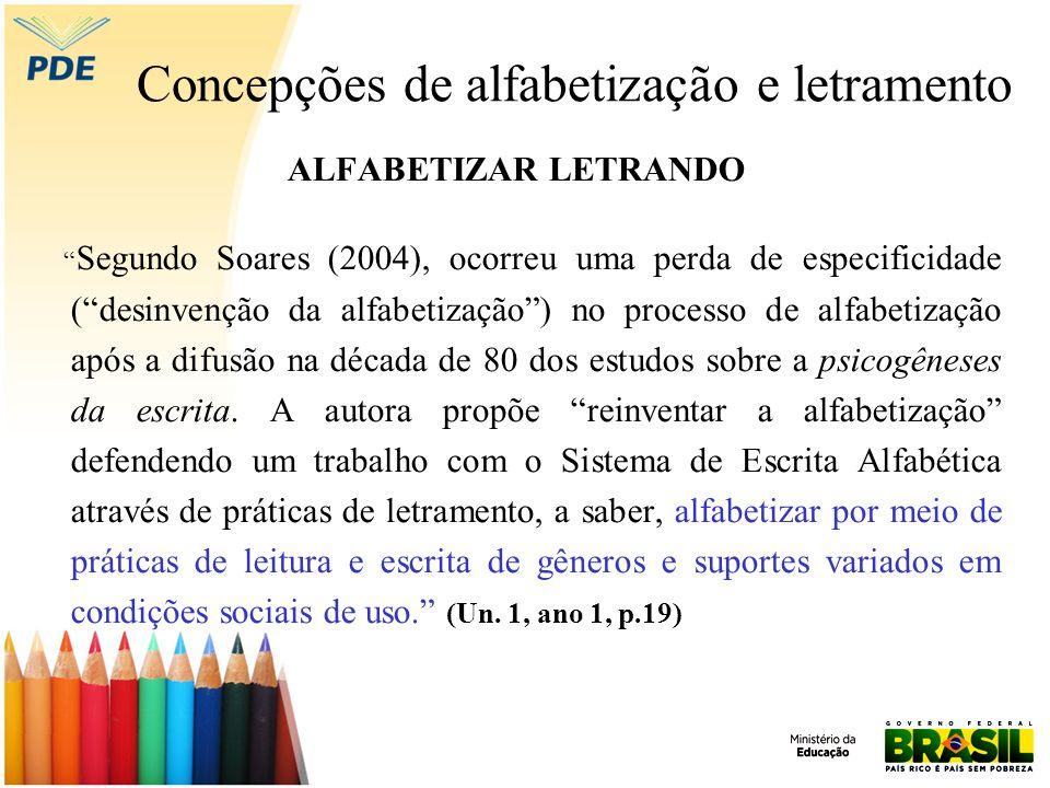 Concepções de alfabetização e letramento ALFABETIZAR LETRANDO Segundo Soares (2004), ocorreu uma perda de especificidade (desinvenção da alfabetização