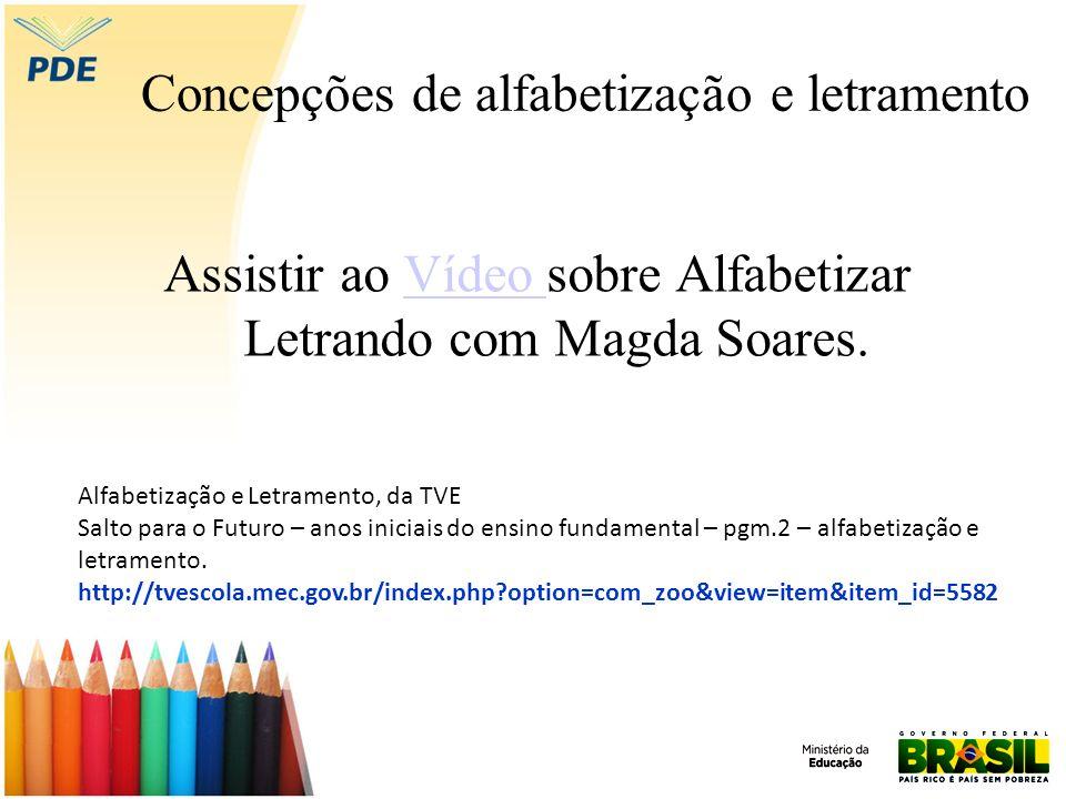 Concepções de alfabetização e letramento Assistir ao Vídeo sobre Alfabetizar Letrando com Magda Soares.Vídeo Alfabetização e Letramento, da TVE Salto