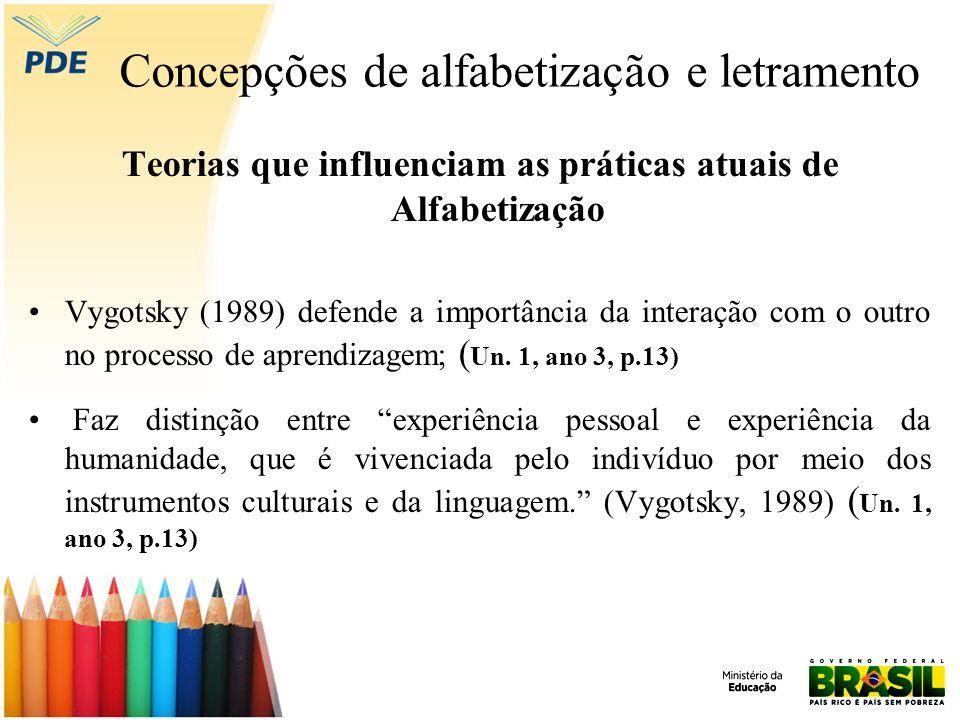 Concepções de alfabetização e letramento Teorias que influenciam as práticas atuais de Alfabetização Vygotsky (1989) defende a importância da interaçã
