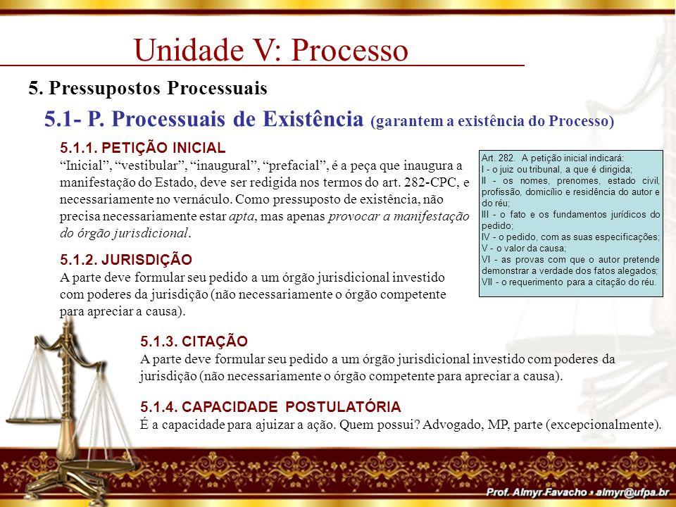 Unidade V: Processo 5.Pressupostos Processuais 5.2- P.