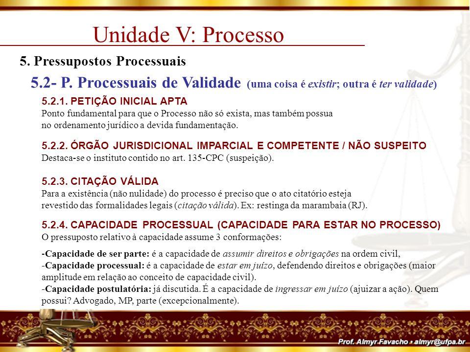 Unidade V: Processo 5.Pressupostos Processuais 5.3- P.