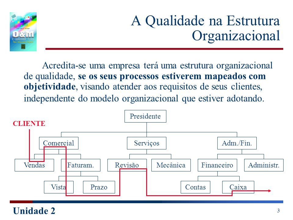 Unidade 2 3 A Qualidade na Estrutura Organizacional Acredita-se uma empresa terá uma estrutura organizacional de qualidade, se os seus processos estiv