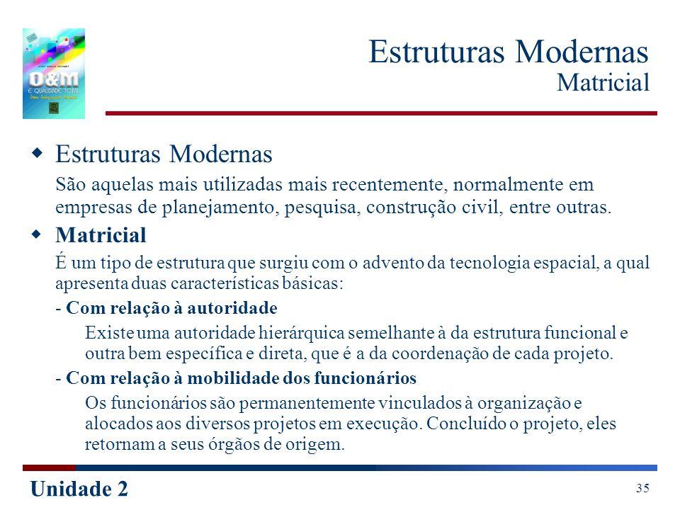 Unidade 2 35 Estruturas Modernas Matricial Estruturas Modernas São aquelas mais utilizadas mais recentemente, normalmente em empresas de planejamento,