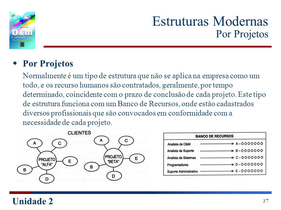 Unidade 2 37 Estruturas Modernas Por Projetos Por Projetos Normalmente é um tipo de estrutura que não se aplica na empresa como um todo, e os recurso
