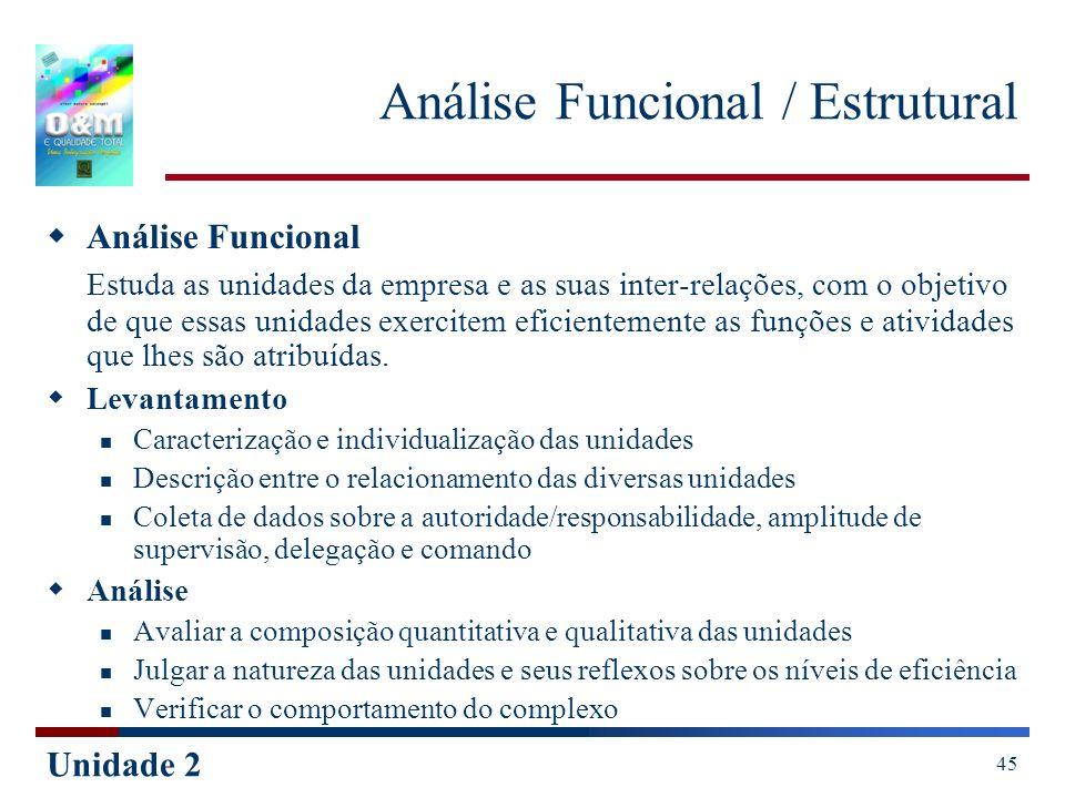 Unidade 2 45 Análise Funcional / Estrutural Análise Funcional Estuda as unidades da empresa e as suas inter-relações, com o objetivo de que essas unid