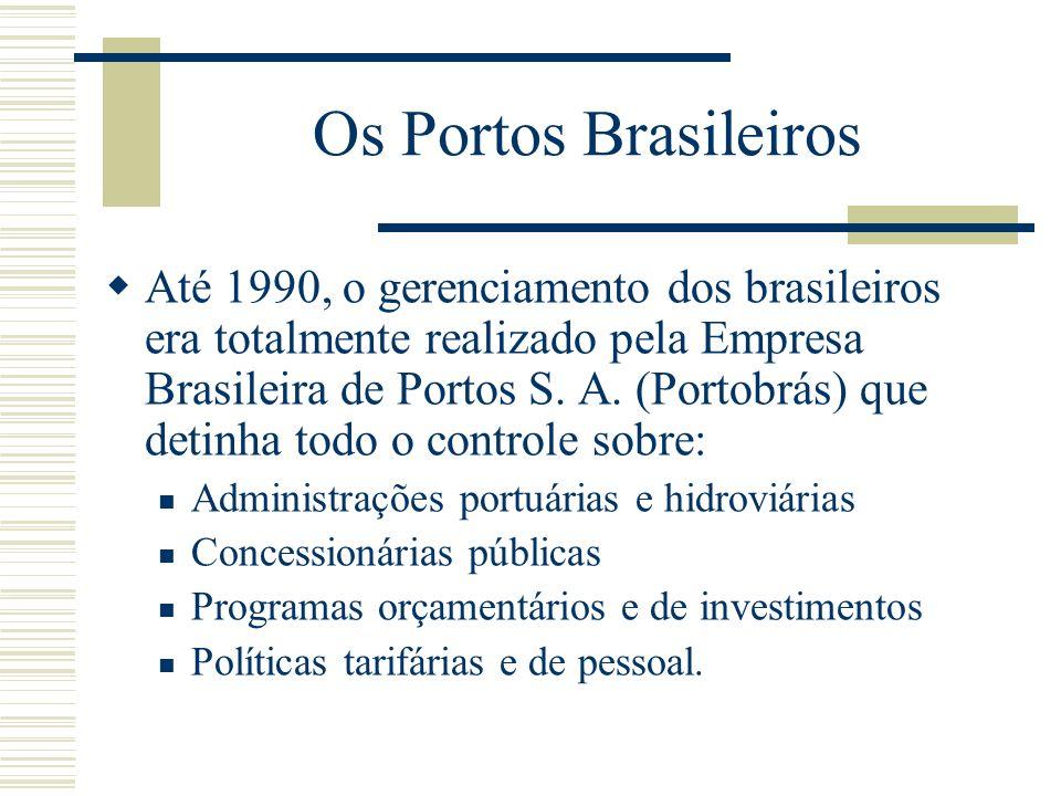 Os Portos Brasileiros Até 1990, o gerenciamento dos brasileiros era totalmente realizado pela Empresa Brasileira de Portos S. A. (Portobrás) que detin