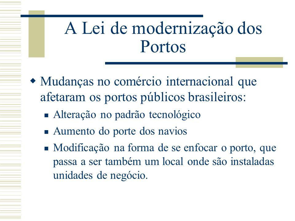 A Lei de modernização dos Portos Mudanças no comércio internacional que afetaram os portos públicos brasileiros: Alteração no padrão tecnológico Aumen