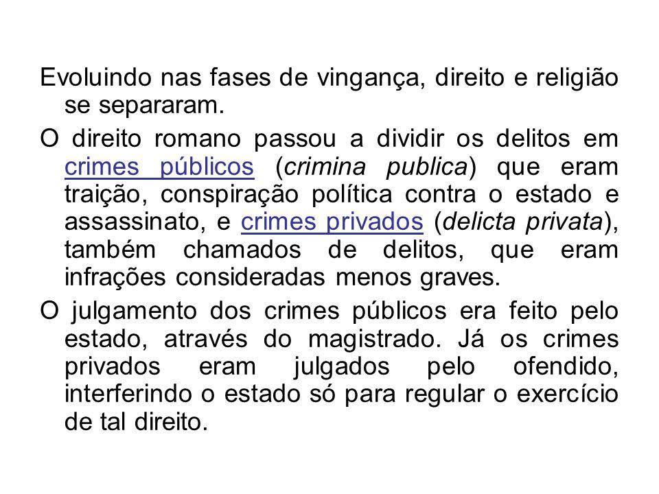 Evoluindo nas fases de vingança, direito e religião se separaram. O direito romano passou a dividir os delitos em crimes públicos (crimina publica) qu