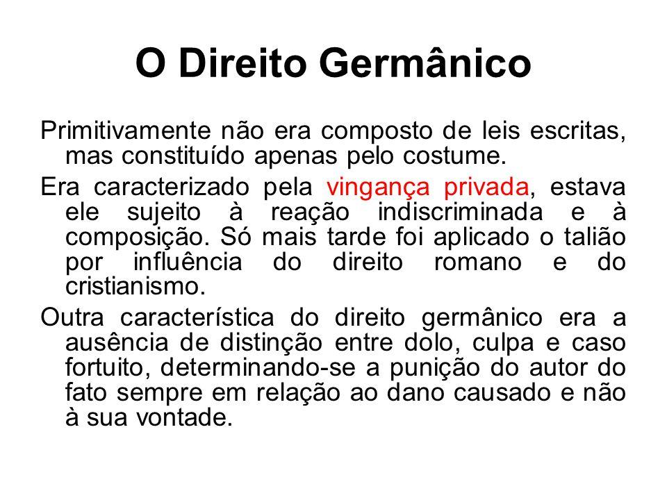 O Direito Germânico Primitivamente não era composto de leis escritas, mas constituído apenas pelo costume. Era caracterizado pela vingança privada, es