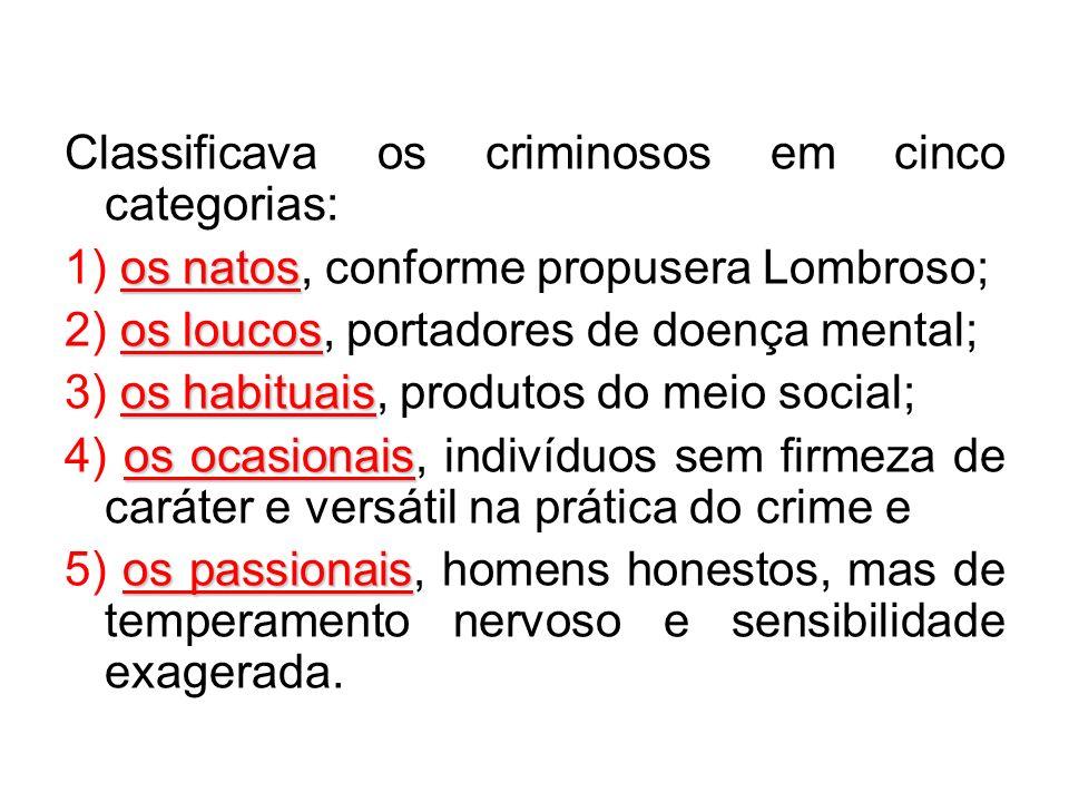 Classificava os criminosos em cinco categorias: os natos 1) os natos, conforme propusera Lombroso; os loucos 2) os loucos, portadores de doença mental