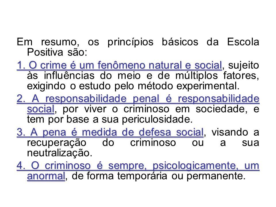 Em resumo, os princípios básicos da Escola Positiva são: 1. O crime é um fenômeno natural e social 1. O crime é um fenômeno natural e social, sujeito