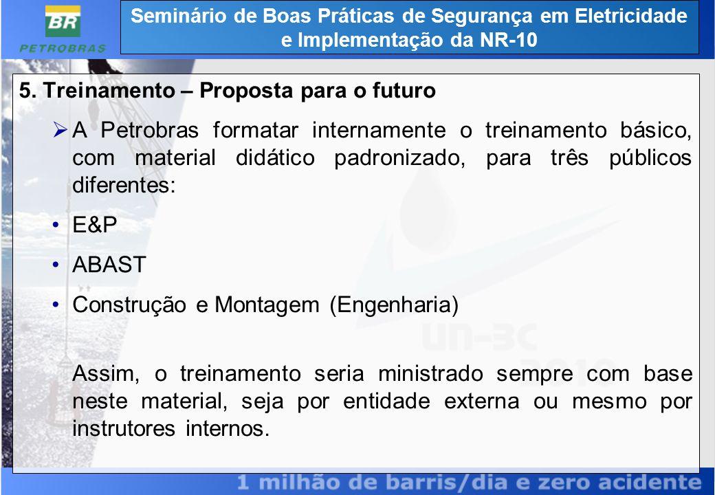 5. Treinamento – Proposta para o futuro A Petrobras formatar internamente o treinamento básico, com material didático padronizado, para três públicos