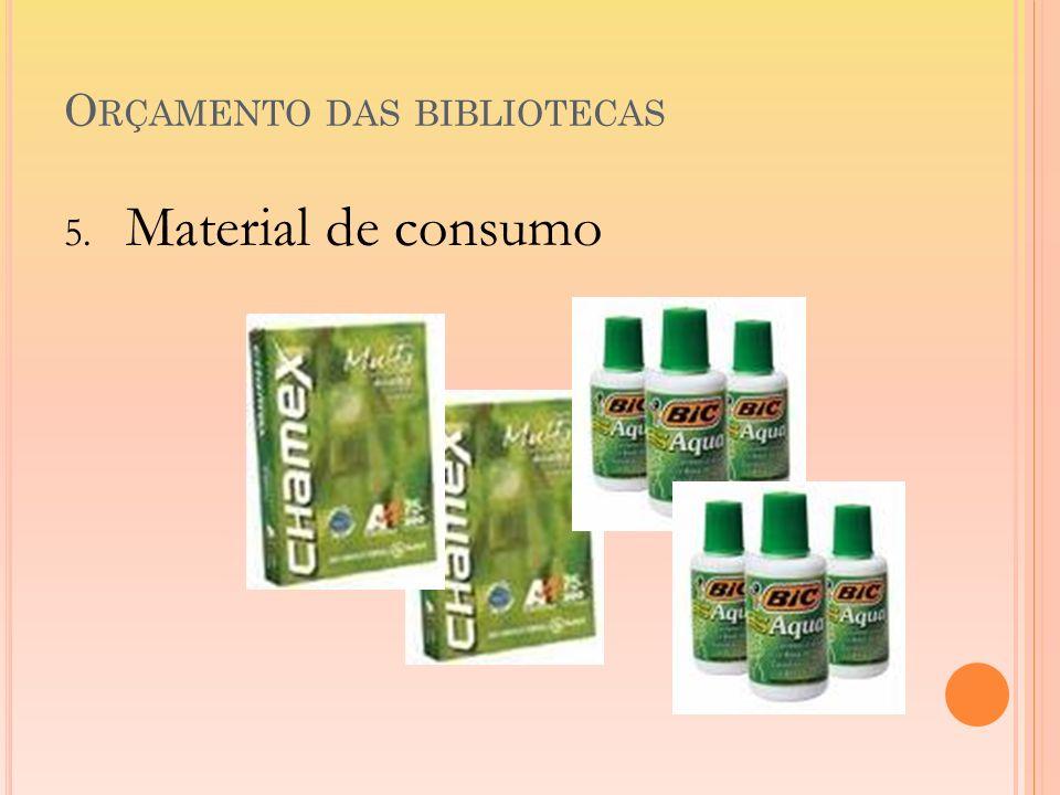 O RÇAMENTO DAS BIBLIOTECAS 5. Material de consumo