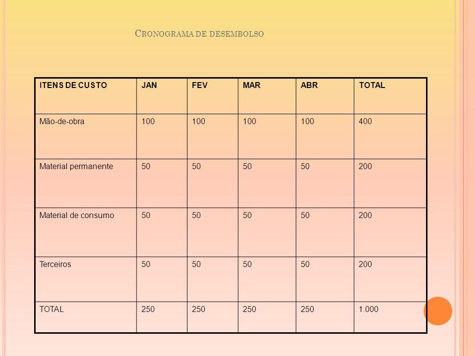 C RONOGRAMA DE DESEMBOLSO ITENS DE CUSTOJANFEVMARABRTOTAL Mão-de-obra100 400 Material permanente50 200 Material de consumo50 200 Terceiros50 200 TOTAL