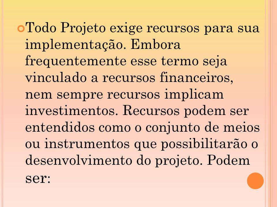 Todo Projeto exige recursos para sua implementação. Embora frequentemente esse termo seja vinculado a recursos financeiros, nem sempre recursos implic
