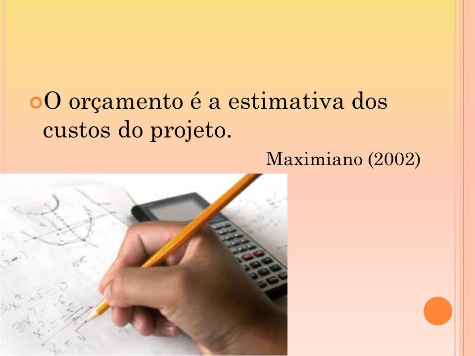 O orçamento é a estimativa dos custos do projeto. Maximiano (2002)