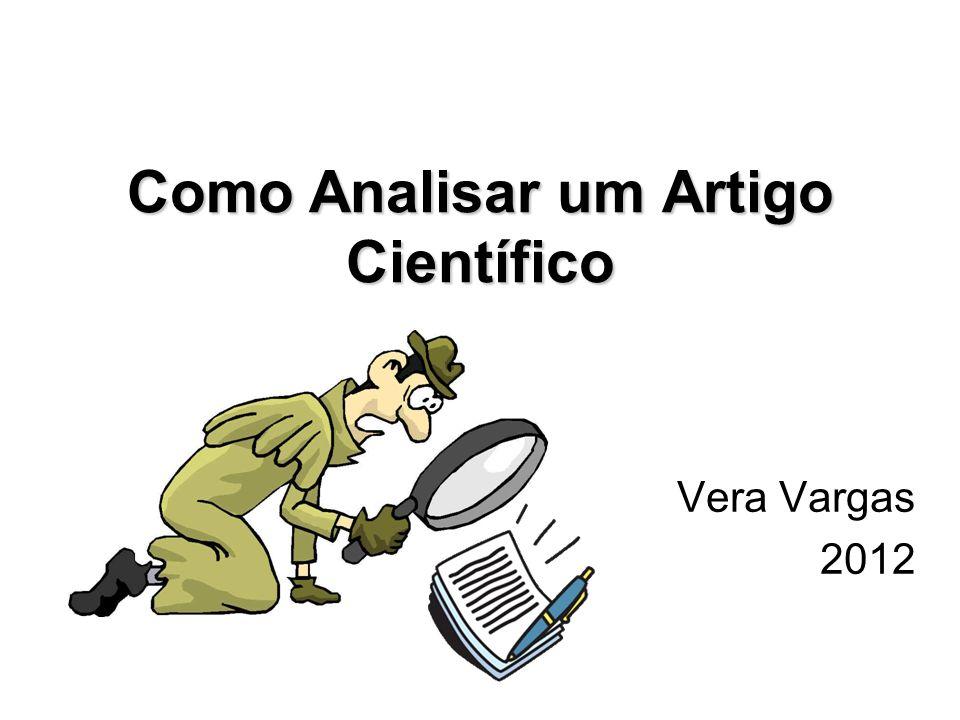 Como Analisar um Artigo Científico Vera Vargas 2012