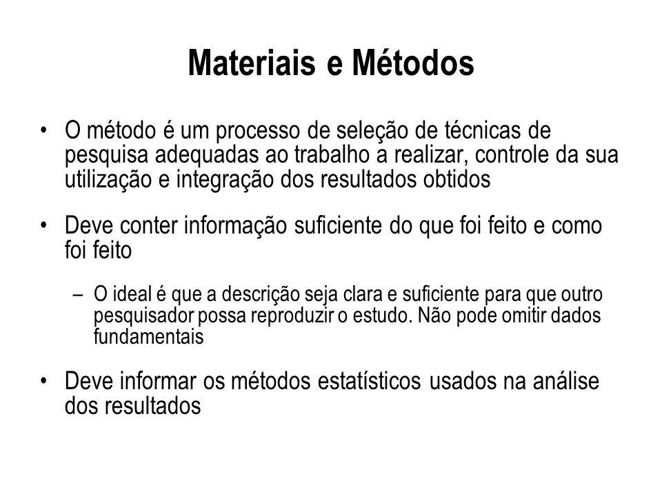 Materiais e Métodos O método é um processo de seleção de técnicas de pesquisa adequadas ao trabalho a realizar, controle da sua utilização e integraçã
