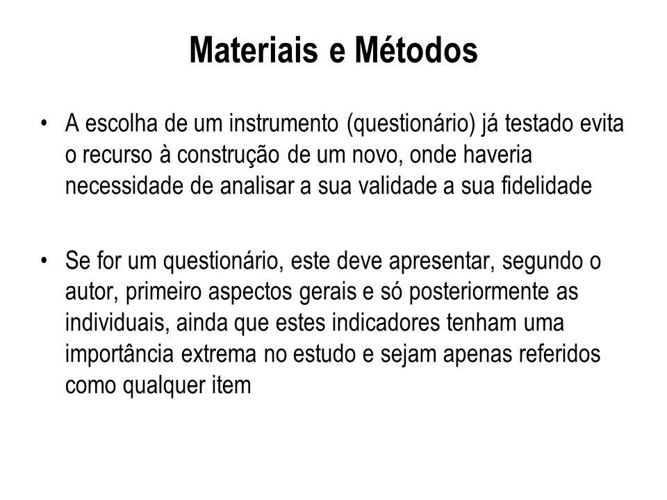 Materiais e Métodos A escolha de um instrumento (questionário) já testado evita o recurso à construção de um novo, onde haveria necessidade de analisa