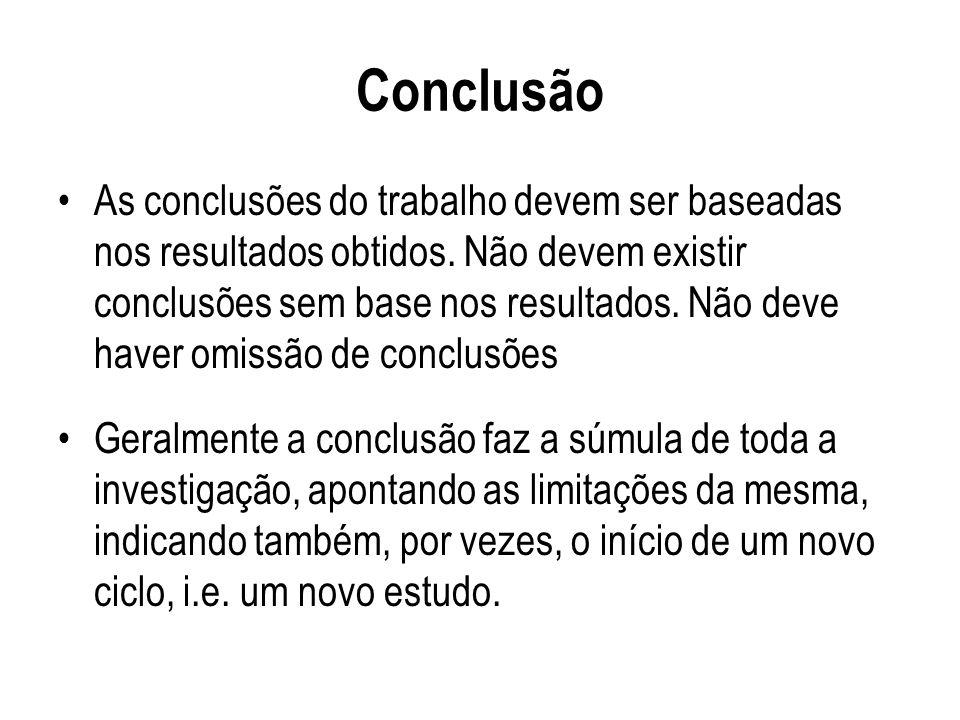 Conclusão As conclusões do trabalho devem ser baseadas nos resultados obtidos. Não devem existir conclusões sem base nos resultados. Não deve haver om