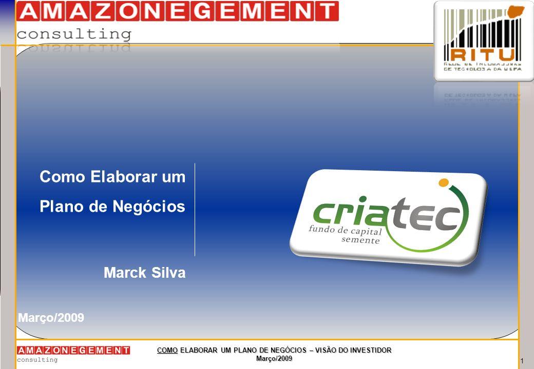 12 COMO ELABORAR UM PLANO DE NEGÓCIOS – VISÃO DO INVESTIDOR Março/2009 Exemplos de Inovação - Escorredor de arroz - Poltrona de escritório a gás - Farmácias BIG BEN - Chamma da Amazônia - Celular - Avião - Relógio - etc