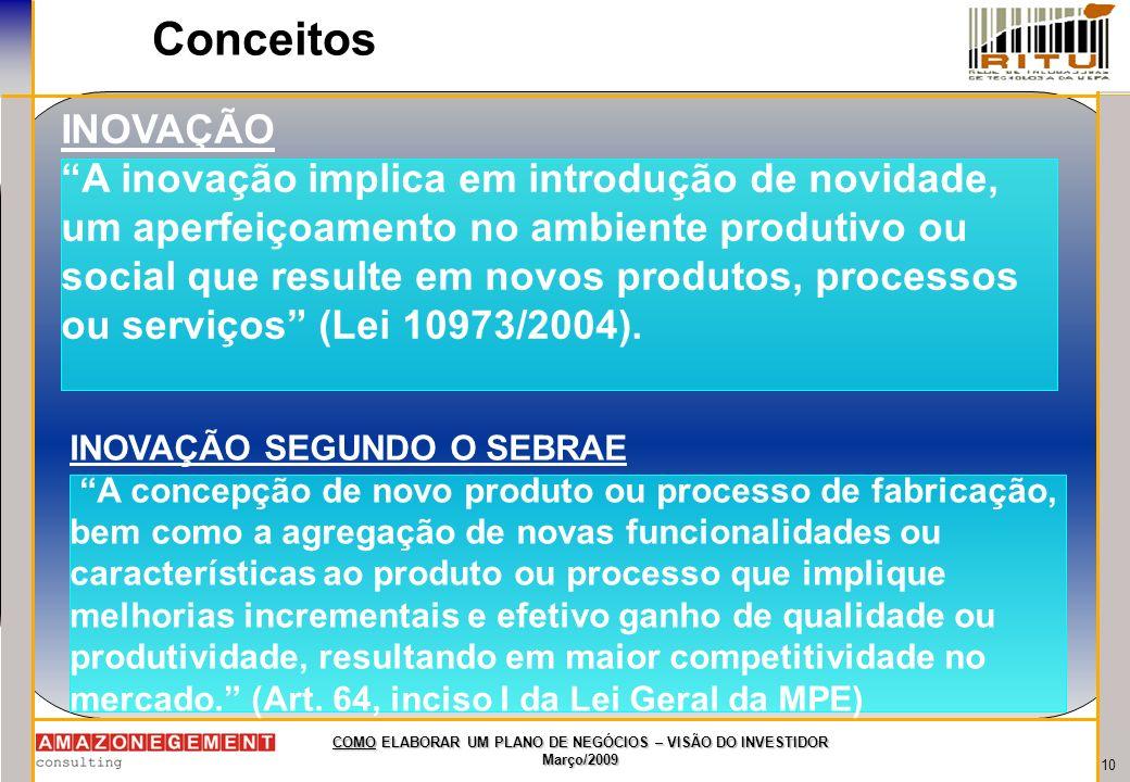 10 COMO ELABORAR UM PLANO DE NEGÓCIOS – VISÃO DO INVESTIDOR Março/2009 Conceitos INOVAÇÃO A inovação implica em introdução de novidade, um aperfeiçoam