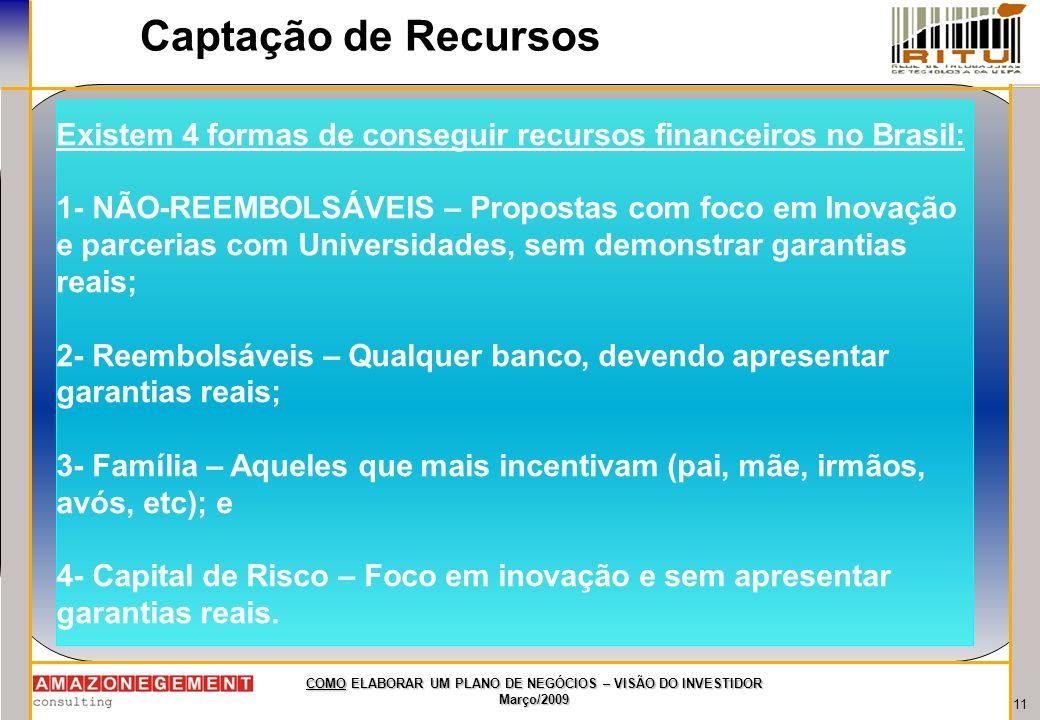 11 COMO ELABORAR UM PLANO DE NEGÓCIOS – VISÃO DO INVESTIDOR Março/2009 Captação de Recursos Existem 4 formas de conseguir recursos financeiros no Bras