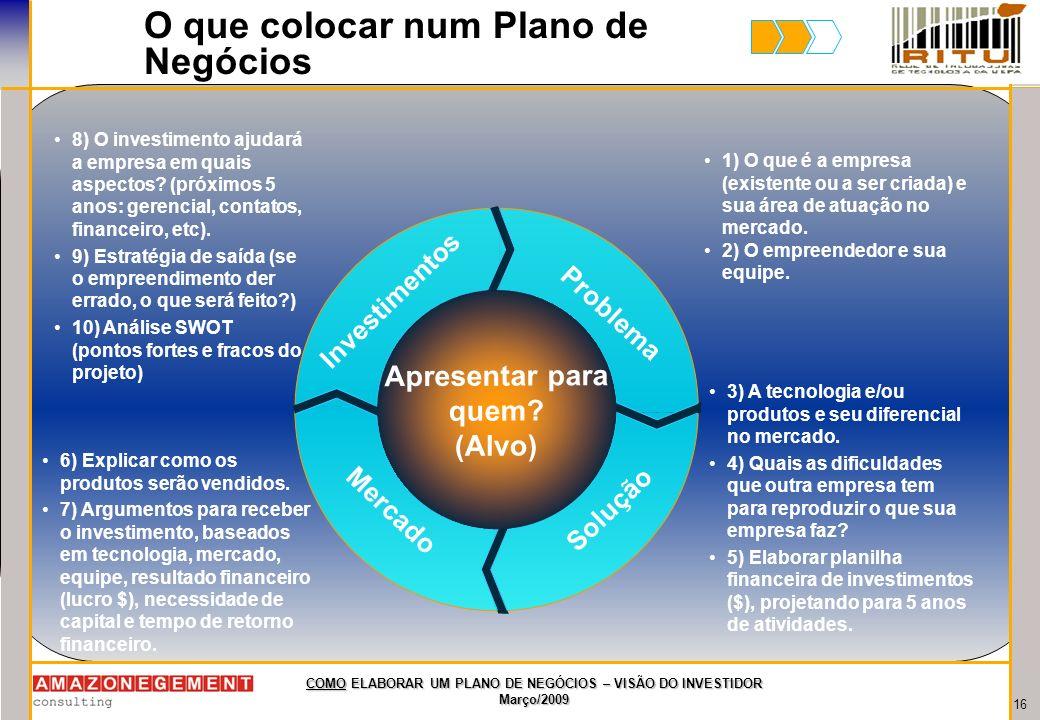 16 COMO ELABORAR UM PLANO DE NEGÓCIOS – VISÃO DO INVESTIDOR Março/2009 O que colocar num Plano de Negócios Apresentar para quem? (Alvo) Mercado Invest
