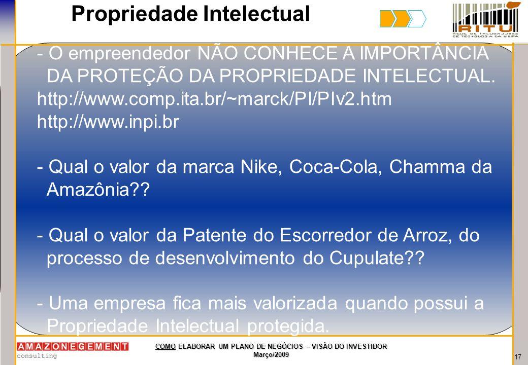 17 COMO ELABORAR UM PLANO DE NEGÓCIOS – VISÃO DO INVESTIDOR Março/2009 Propriedade Intelectual - O empreendedor NÃO CONHECE A IMPORTÂNCIA DA PROTEÇÃO