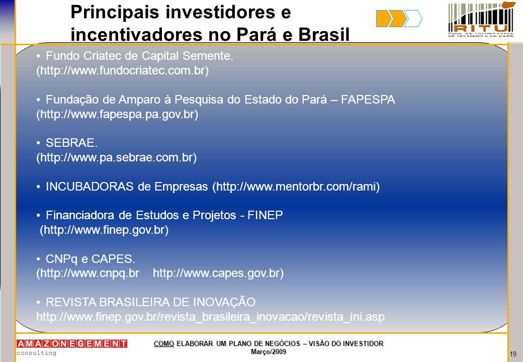 19 COMO ELABORAR UM PLANO DE NEGÓCIOS – VISÃO DO INVESTIDOR Março/2009 Principais investidores e incentivadores no Pará e Brasil Fundo Criatec de Capi