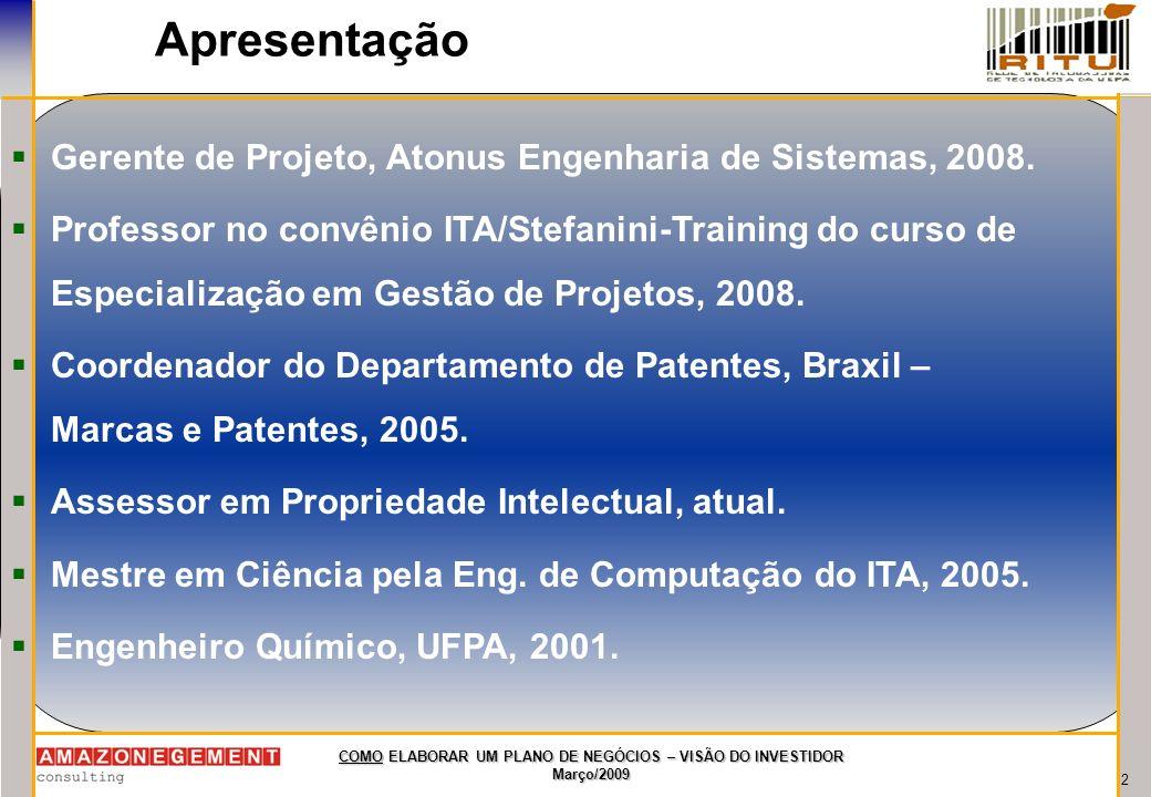 2 COMO ELABORAR UM PLANO DE NEGÓCIOS – VISÃO DO INVESTIDOR Março/2009 Apresentação Gerente de Projeto, Atonus Engenharia de Sistemas, 2008. Professor