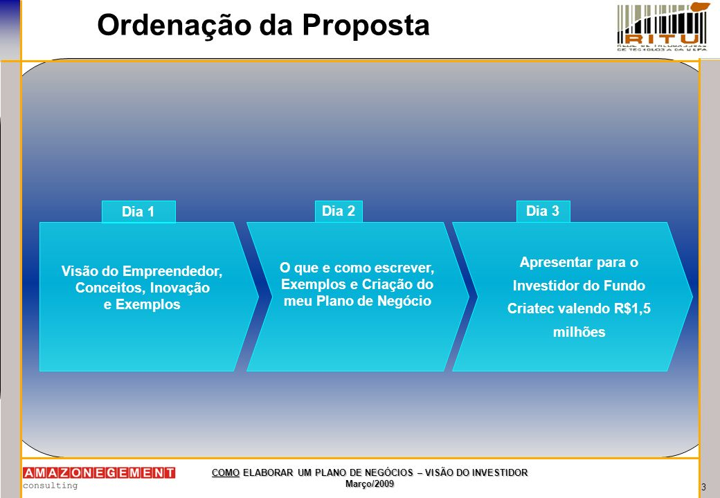3 COMO ELABORAR UM PLANO DE NEGÓCIOS – VISÃO DO INVESTIDOR Março/2009 Ordenação da Proposta Visão do Empreendedor, Conceitos, Inovação e Exemplos Dia