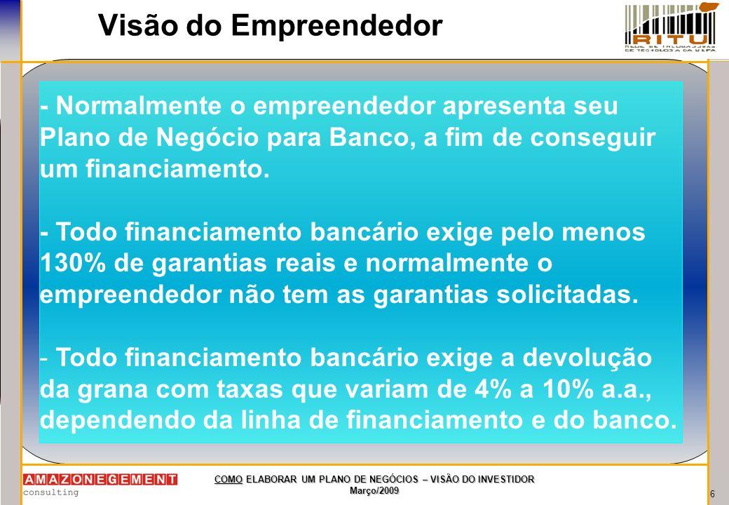 7 COMO ELABORAR UM PLANO DE NEGÓCIOS – VISÃO DO INVESTIDOR Março/2009 Visão do Empreendedor - Para o empreendedor, NÃO EXISTEM outras fontes de financiamento do seu empreendimento, apenas Banco.