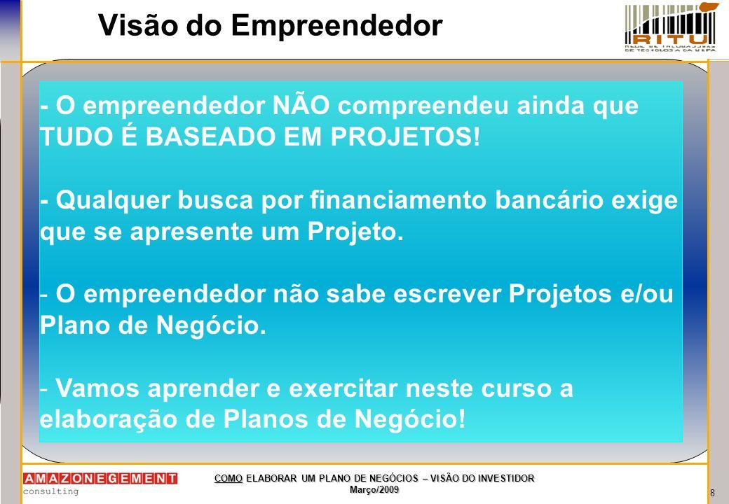 19 COMO ELABORAR UM PLANO DE NEGÓCIOS – VISÃO DO INVESTIDOR Março/2009 Principais investidores e incentivadores no Pará e Brasil Fundo Criatec de Capital Semente.