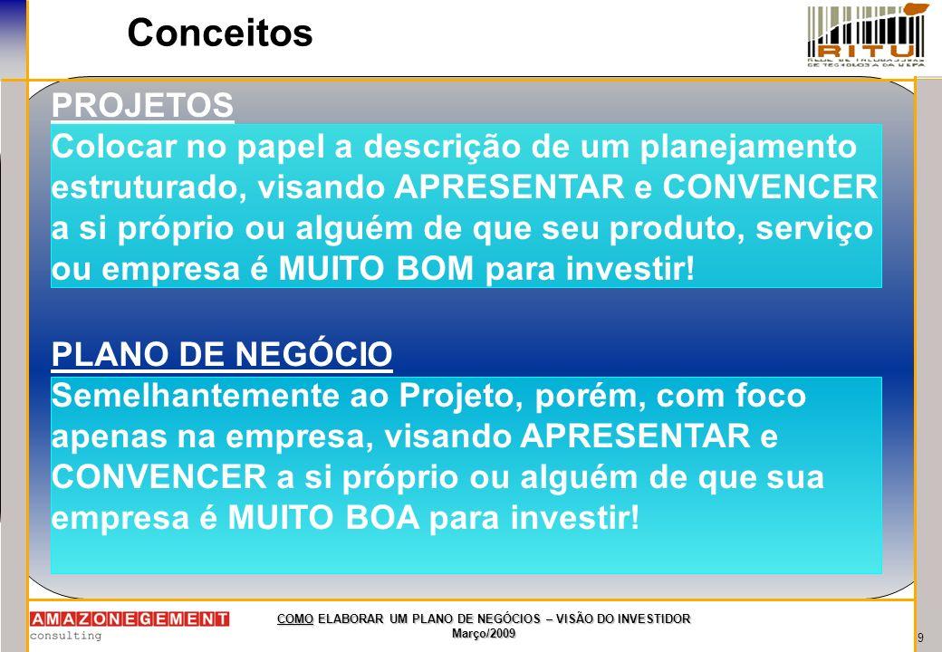 9 COMO ELABORAR UM PLANO DE NEGÓCIOS – VISÃO DO INVESTIDOR Março/2009 Conceitos PROJETOS Colocar no papel a descrição de um planejamento estruturado,