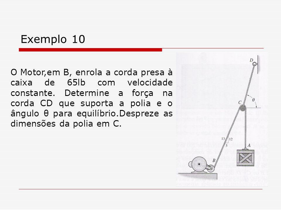 Exemplo 10 O Motor,em B, enrola a corda presa à caixa de 65lb com velocidade constante. Determine a força na corda CD que suporta a polia e o ângulo θ