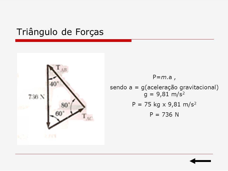 Resolução Utizando a lei dos senos temos: T AB / sen 60º = T AC / sen 40º = 736 N / sen 80º T AB = 647 N T AB = 480 N Poderíamos resolver também de forma algébrica Utilizando as componentes cartesianas: ΣF x = 0 e ΣF y = 0